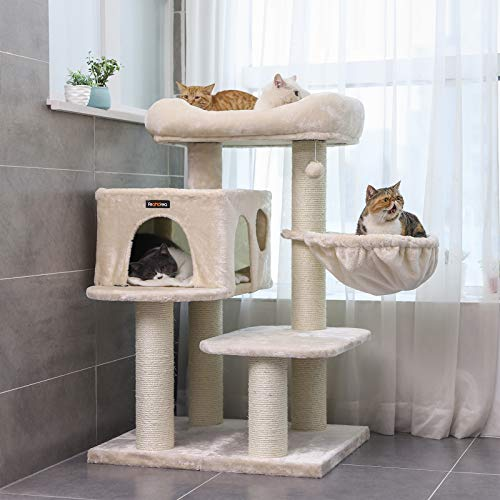 FEANDREA-Cat-Tree-Cat-Tower-with-XXL-Plush-Perch-Basket-Lounger-Cat-Condo-with-Adjustable-Units-Cat-Toys-Extra-Thick-Posts-Completely-Wrapped-in-Sisal-0-2