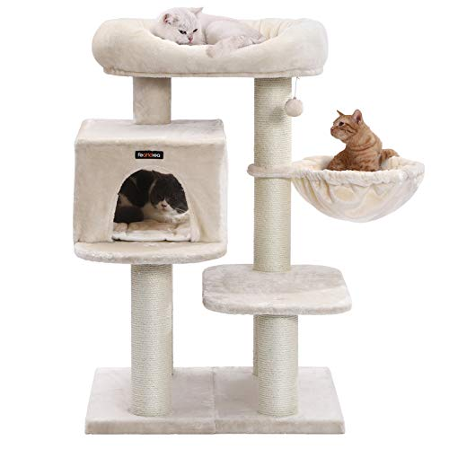 FEANDREA-Cat-Tree-Cat-Tower-with-XXL-Plush-Perch-Basket-Lounger-Cat-Condo-with-Adjustable-Units-Cat-Toys-Extra-Thick-Posts-Completely-Wrapped-in-Sisal-0