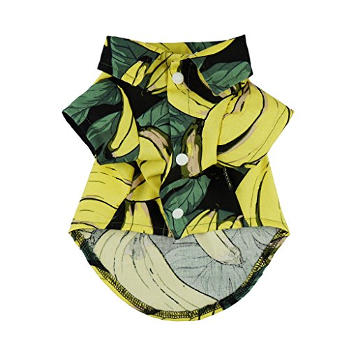 Fitwarm-Banana-Pet-Clothes-for-Dog-Shirts-Cat-Polo-Apparel-Yellow-0