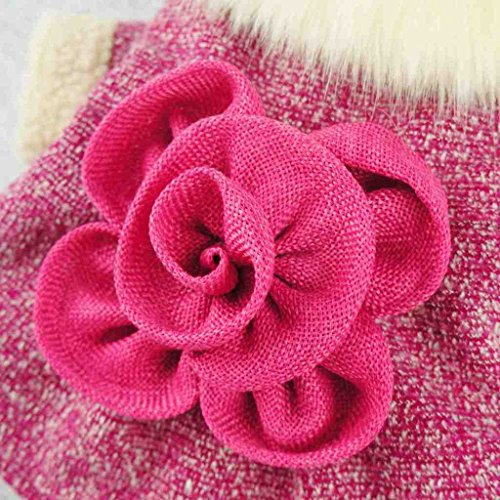 Fitwarm-Elegant-Pink-Floral-Faux-Furred-Dog-Coats-Pet-Clothes-Winter-Dresses-0-2
