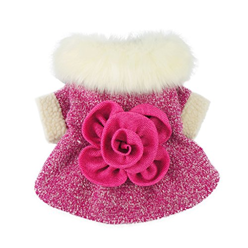 Fitwarm-Elegant-Pink-Floral-Faux-Furred-Dog-Coats-Pet-Clothes-Winter-Dresses-0