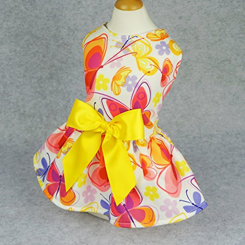 Fitwarm-Floral-Butterfly-Dog-Dresses-Clothes-Pet-Vest-Shirts-Cat-Apparel-Yellow-0-0