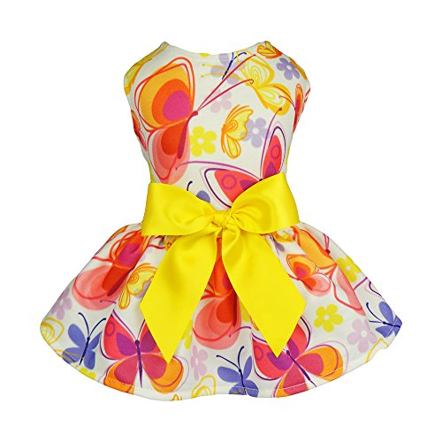 Fitwarm-Floral-Butterfly-Dog-Dresses-Clothes-Pet-Vest-Shirts-Cat-Apparel-Yellow-0