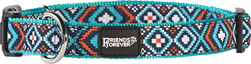 Friends-Forever-Dog-Collar-for-Dogs-Fashion-Woven-Square-Pattern-Cute-Puppy-Collar-Available-in-Size-SmallMediumLarge-0-0
