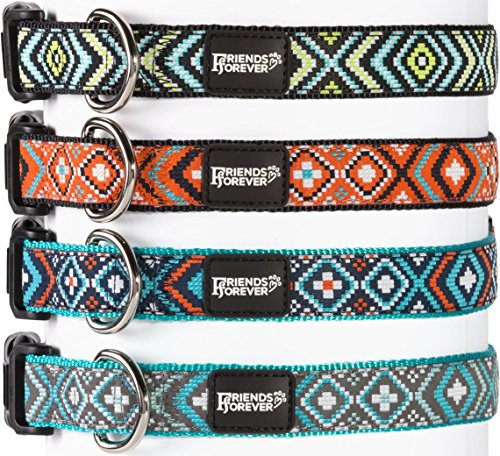 Friends-Forever-Dog-Collar-for-Dogs-Fashion-Woven-Square-Pattern-Cute-Puppy-Collar-Available-in-Size-SmallMediumLarge-0-2