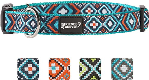 Friends-Forever-Dog-Collar-for-Dogs-Fashion-Woven-Square-Pattern-Cute-Puppy-Collar-Available-in-Size-SmallMediumLarge-0