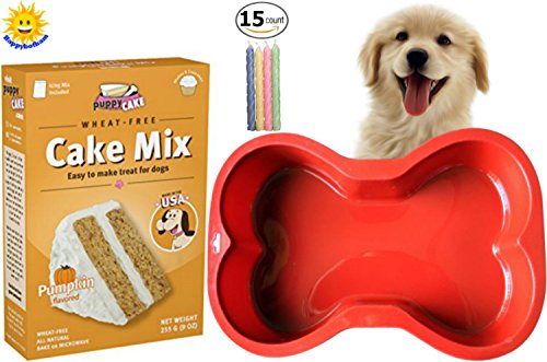 Happybotham-Puppy-Cake-Pumpkin-Cake-Mix-Frosting-Wheat-Free-Dogs-Red-Silicone-Dog-Bone-Cake-Pan-Birthday-Candles-0