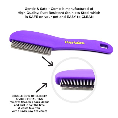 Hertzko-Flea-Comb-with-Double-Row-of-Teeth-Double-Row-of-Closely-Spaced-Metal-Pins-Removes-Fleas-Flea-Eggs-and-Debris-from-Your-Pets-Coat-Suitable-for-Dogs-and-Cats-0-0