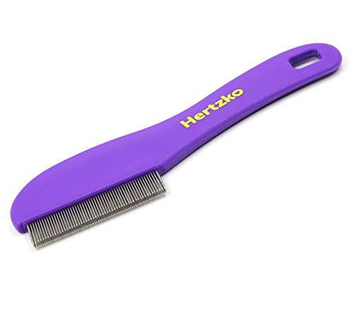 Hertzko-Flea-Comb-with-Double-Row-of-Teeth-Double-Row-of-Closely-Spaced-Metal-Pins-Removes-Fleas-Flea-Eggs-and-Debris-from-Your-Pets-Coat-Suitable-for-Dogs-and-Cats-0