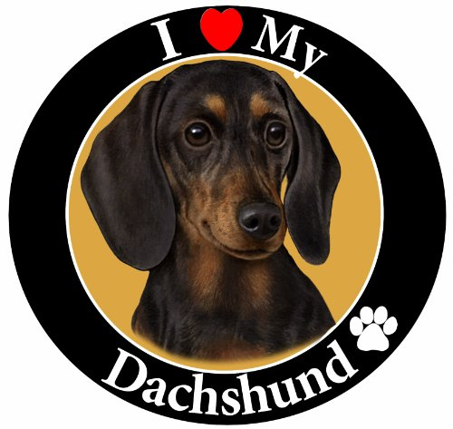 I-Love-My-Dachshund-Black-Car-Magnet-With-Realistic-Looking-Dachshund-Photograph-In-The-Center-Covered-In-UV-Gloss-For-Weather-and-Fading-Protection-Circle-Shaped-Magnet-Measures-525-Inches-Diameter-0