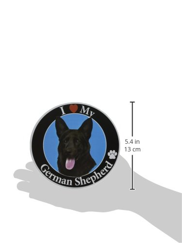 I-Love-My-German-Shepherd-Black-Car-Magnet-With-Realistic-Looking-German-Shepherd-Photograph-In-The-Center-Covered-In-UV-Gloss-For-Weather-and-Fading-Protection-Circle-Shaped-Magnet-Measures-525-Inche-0-0