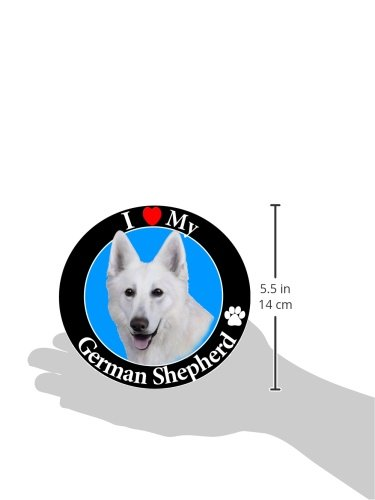 I-Love-My-German-Shepherd-White-Car-Magnet-With-Realistic-Looking-German-Shepherd-Photograph-In-The-Center-Covered-In-UV-Gloss-For-Weather-and-Fading-Protection-Circle-Shaped-Magnet-Measures-525-Inche-0-0