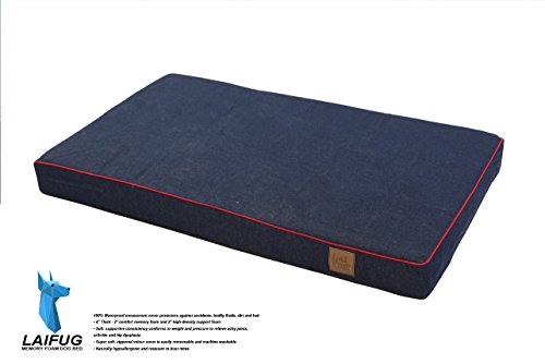 Laifug-Orthopedic-Memory-Foam-PetDog-Bed-with-Durable-Water-Proof-Liner-and-Removable-Designer-Washable-Cover-Large46X28X4-inches-Blue-Denim-0-0