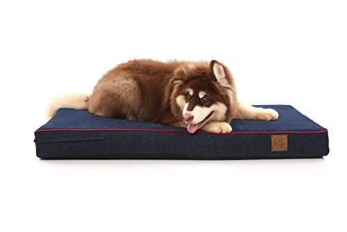 Laifug-Orthopedic-Memory-Foam-PetDog-Bed-with-Durable-Water-Proof-Liner-and-Removable-Designer-Washable-Cover-Large46X28X4-inches-Blue-Denim-0