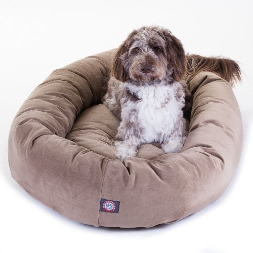 Majestic-Pet-Extra-Large-52-Bagel-Dog-Pet-Bed-MicroSuede-Stone-0