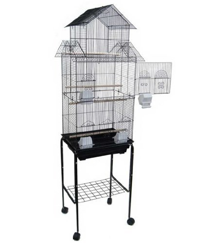Mcage-Large-Canary-Parakeet-Cockatiel-Lovebird-Finch-Roof-Top-Bird-Cage-with-Stand-18x14x63-0