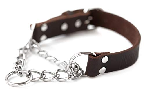 Mighty-Paw-Leather-Training-Collar-Martingale-Collar-Stainless-Steel-Chain-Premium-Quality-Limited-Chain-Cinch-Collar-0