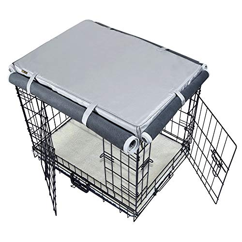 MrYou-Pets-Dog-IndoorOutdoor-Crate-CoversHeavy-Duty-Waterproof-Durable-with-Cashmere-Fabrics-for-WinterFour-Sides-Open-Zipper-and-Six-Fastened-Straps-0