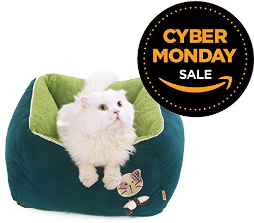 New-PLS-Birdsong-Princess-Plush-Bolster-Pet-Bed-Dog-Bed-Cat-Bed-Dog-Beds-for-Small-Dogs-Completely-Removable-and-Washable-Cover-0