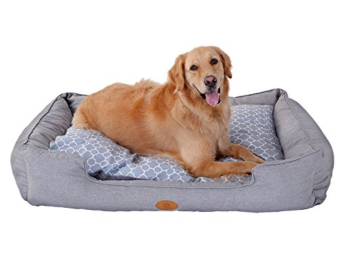 New-PLS-Birdsong-Trellis-Bolster-Dog-Bed-Gray-Fashionable-and-Stylish-Look-with-Materials-0-0