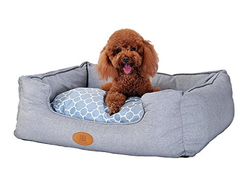 New-PLS-Birdsong-Trellis-Bolster-Dog-Bed-Gray-Fashionable-and-Stylish-Look-with-Materials-0-1