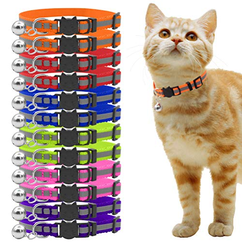 OFPUPPY-12-Pcs-Cat-Collars-Breakaway-Reflective-Nylon-Safety-Collars-with-Bell-for-Kitty-Kitten-0