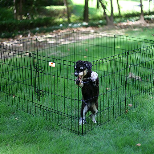 PEEKABOO-Pet-Playpen-Dog-Fence-Foldable-Exercise-Pen-Yard-for-Cats-Rabbits-Puppy-Indoor-Outdoor-24-Black-0-0