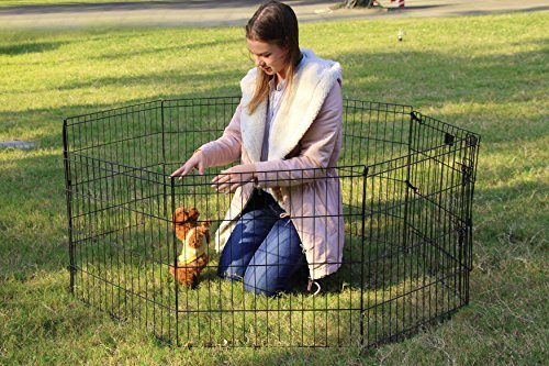 PEEKABOO-Pet-Playpen-Dog-Fence-Foldable-Exercise-Pen-Yard-for-Cats-Rabbits-Puppy-Indoor-Outdoor-24-Black-0-1