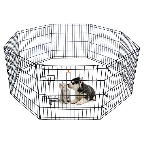 PEEKABOO-Pet-Playpen-Dog-Fence-Foldable-Exercise-Pen-Yard-for-Cats-Rabbits-Puppy-Indoor-Outdoor-24-Black-0