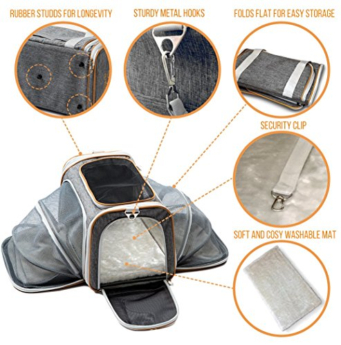 PETYELLA-Luxury-Pet-Carrier-Fleece-Blanket-Bowl-Airline-Approved-Innovative-Design-Lightweight-Dog-Cat-Carrier-0-2