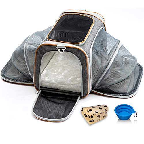 PETYELLA-Luxury-Pet-Carrier-Fleece-Blanket-Bowl-Airline-Approved-Innovative-Design-Lightweight-Dog-Cat-Carrier-0