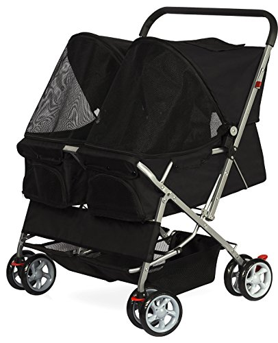 Paws-Pals-Double-Dog-Stroller-Pet-Strollers-for-Small-Medium-Dogs-Cats-Two-Doggy-Puppy-or-2-Kitty-Cat-Carriage-Buggy-Fold-able-Animal-Pets-Doggie-Cart-Carriages-0