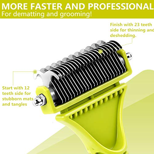 Pecute-Dematting-Comb-Grooming-Tool-Kit-for-Dog-Cat-Double-Sided-Blade-Rake-Comb-with-Grooming-Brush-Dematting-Comb-0-0