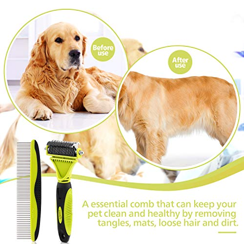 Pecute-Dematting-Comb-Grooming-Tool-Kit-for-Dog-Cat-Double-Sided-Blade-Rake-Comb-with-Grooming-Brush-Dematting-Comb-0-2