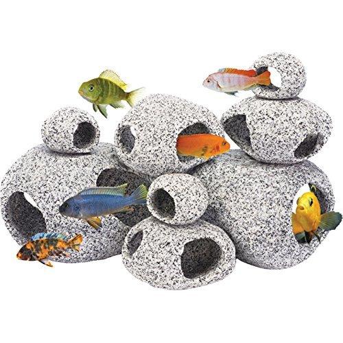 Penn-Plax-Stone-Replica-Aquarium-Decoration-Realistic-Granite-Look-with-Fish-Hideaway-8-Piece-Set-0