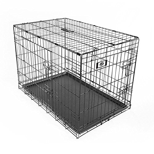 Pet-Champion-Deluxe-36-Inch-Folding-Portable-2-Door-Wire-Pet-Crate-Kennel-Large-Up-to-70-Pounds-0-1