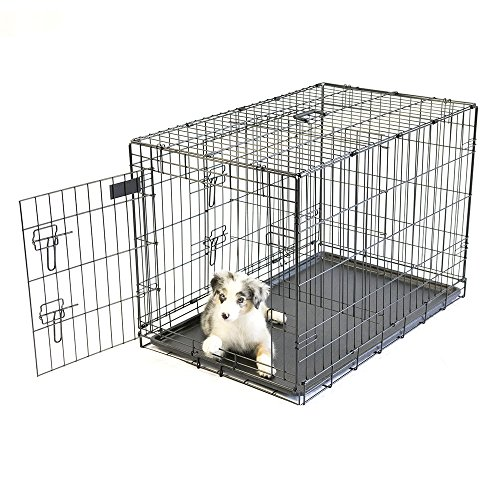Pet-Champion-Deluxe-36-Inch-Folding-Portable-2-Door-Wire-Pet-Crate-Kennel-Large-Up-to-70-Pounds-0-2