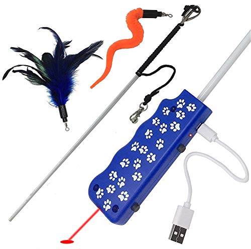 Pet-Fit-For-Life-FeatherSquiggly-Worm-Cat-Wand-and-Light-Chaser-Combo-Toy-WBird-Chirping-Call-to-Action-Patented-0