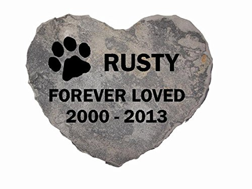 Pet-Memorial-Headstone-Grave-Marker-Sandblast-Engraved-Gray-Natural-Stone-Heart-0