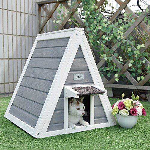 Petsfit-Triangle-Wooden-Cat-House-with-Back-Escape-Door-Front-Door-with-Eave-to-Prevent-Rain-for-Cat-and-Small-Animals-0-0