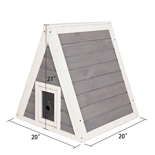 Petsfit-Triangle-Wooden-Cat-House-with-Back-Escape-Door-Front-Door-with-Eave-to-Prevent-Rain-for-Cat-and-Small-Animals-0-1