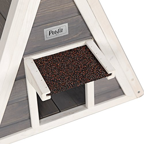 Petsfit-Triangle-Wooden-Cat-House-with-Back-Escape-Door-Front-Door-with-Eave-to-Prevent-Rain-for-Cat-and-Small-Animals-0-2