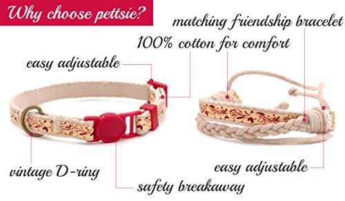 Pettsie-Cat-Collar-Breakaway-Safety-and-Friendship-Bracelet-for-You-100-Cotton-for-Extra-Safety-D-Ring-for-Accessories-Comfortable-Cotton-Adjustable-75-115-Inch-0-0