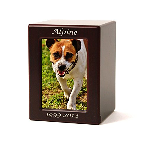 Photo-Frame-Wood-Memorial-Pet-Urn-Small-with-Engraving-Holds-Up-to-40-Cubic-Inches-of-Ashes-Brown-Cremation-Urn-for-Cat-Dog-Custom-Engraving-Included-0
