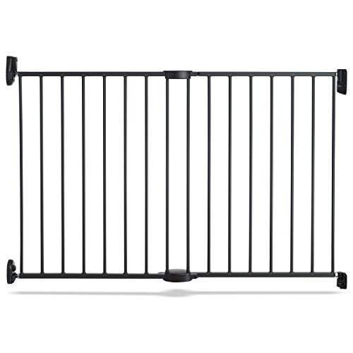 Push-to-Close-Hardware-Baby-Gate-Extends-285-to-45-Wide-Dark-Grey-Model-MK0001-0