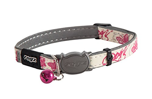 ROGZ-CB09-K-Glow-in-the-Dark-Reflective-Cat-Collar-with-Breakaway-Clip-and-Removable-Bell-fully-adjustable-to-fit-most-breeds-Pink-Butterfly-Design-0