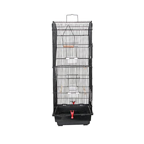 SUNCOO-Large-Bird-Cage-for-Parrot-Budgie-Parakeet-Cockatoo-Cocatiel-Iron-Bird-Aviary-with-Stand-Pet-Supply-Black-0-0