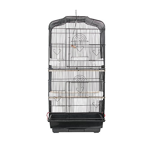 SUNCOO-Large-Bird-Cage-for-Parrot-Budgie-Parakeet-Cockatoo-Cocatiel-Iron-Bird-Aviary-with-Stand-Pet-Supply-Black-0-2