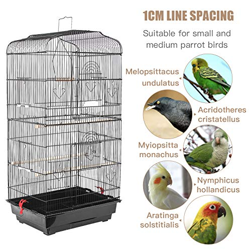 SUNCOO-Large-Bird-Cage-for-Parrot-Budgie-Parakeet-Cockatoo-Cocatiel-Iron-Bird-Aviary-with-Stand-Pet-Supply-Black-0
