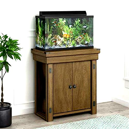 Skrootz-20-Gallon-Wood-Aquarium-Stand-Rustic-Gray-Color-Rectangle-Shape-Small-Size-0